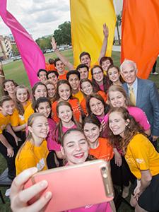 Mayor Teresa Jacobs taking a selfie with children