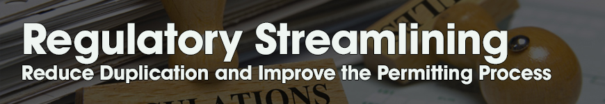 Regulatory Streamlining. Reduce Duplication and Improve the Permitting Process.