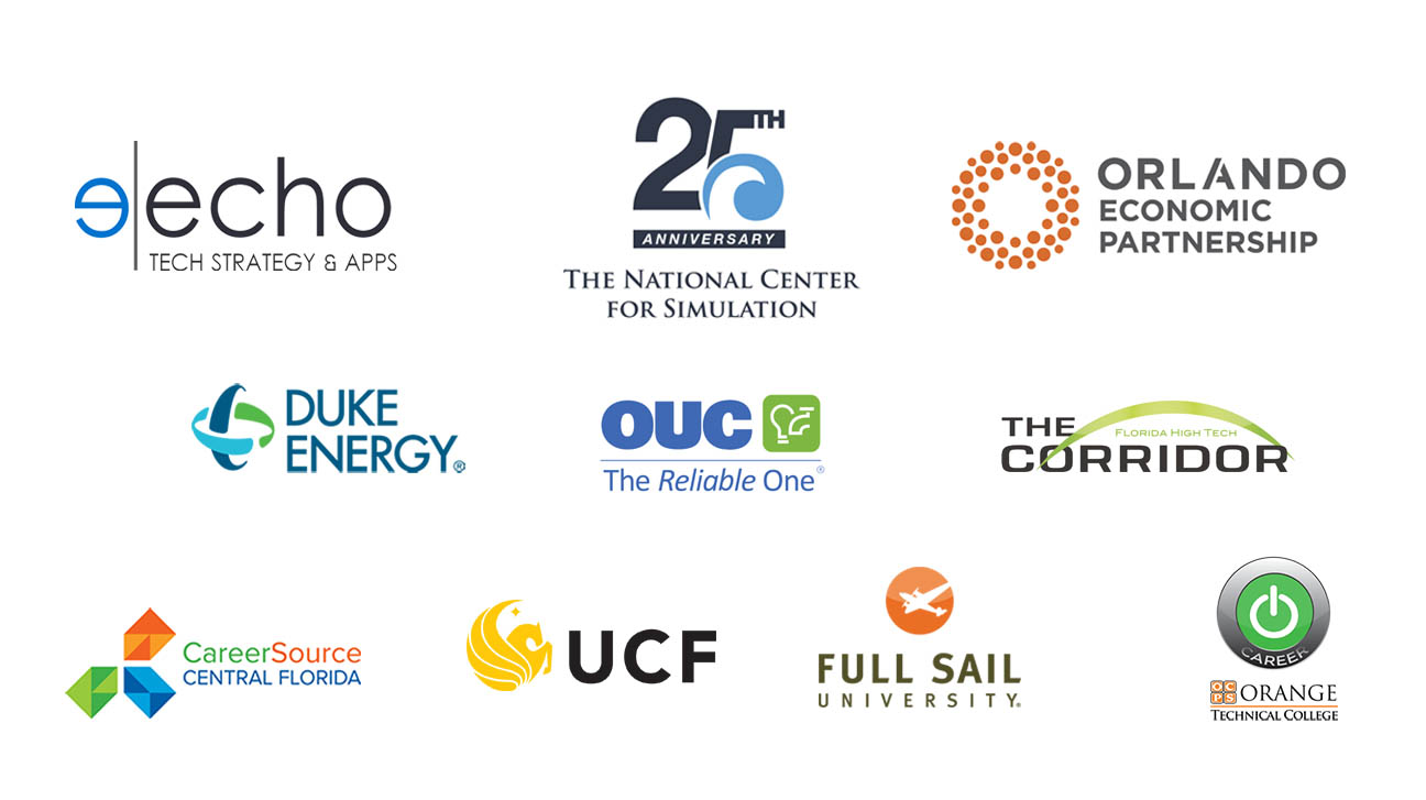 Sponsor logos for Echo Tech Strategy and Apps, The National Center for Simulation, Orlando economic partnership, Duke Energy, OUC the reliable one, career source central florida, Orange technical college, Full Sail university, the University of Central Florida, and the Florida High Tech Corridor.
