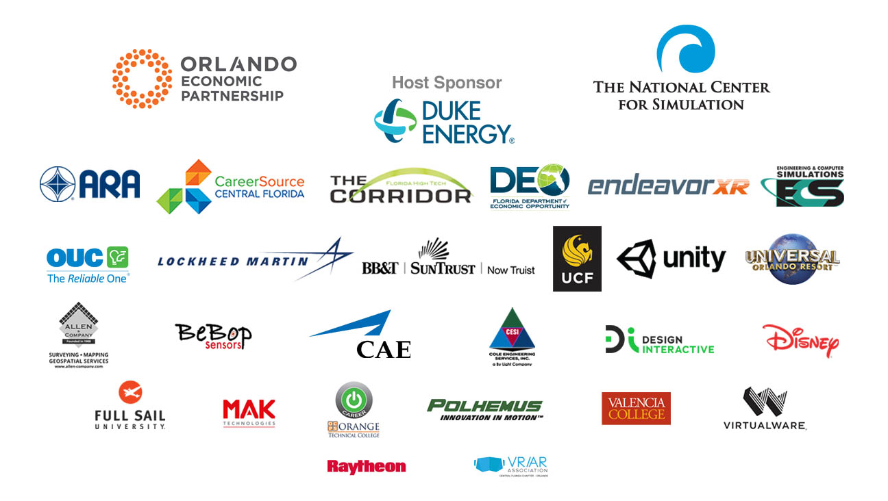 Sponsor logos for The National Center for Simulation, Orlando economic partnership, ARA, The Tech Corridor, endeavor XR, Orange technical college, career source central florida BB&T Suntrust Bank, Design interative, Florida Department of Economic Opportunity, MAK, Full Sail university, Disney, Polhemus, Florida makes, Cliffton Larson Allen, CESI, ECS, Valencia College, Lockheed Martin, Raytheon, Unity, Virtual Ware and Cole Engineering Services Inc.