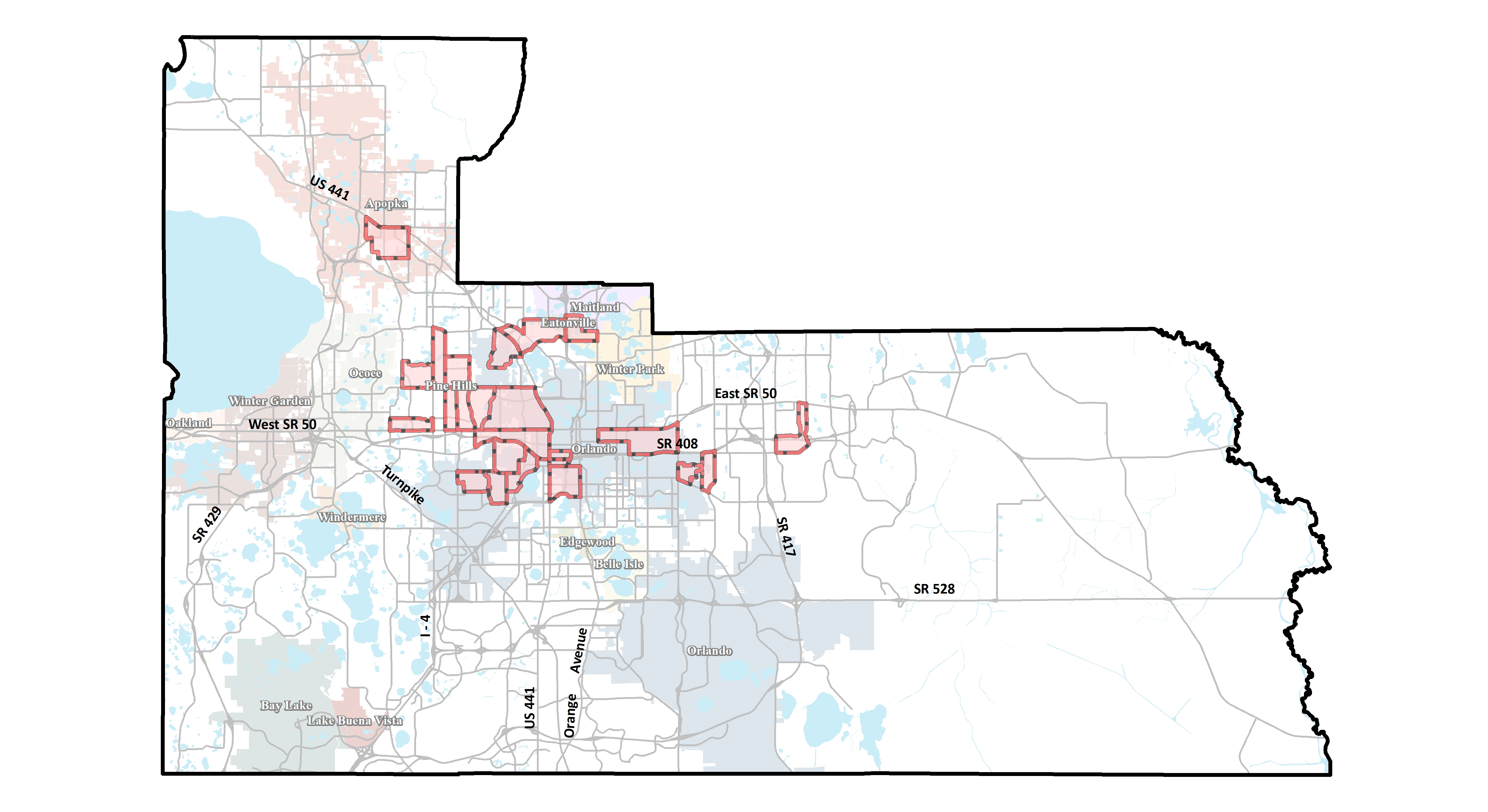 Map of Orange County's 24 Opportunity Zones