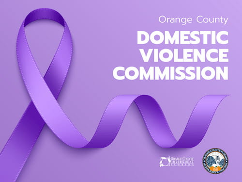 Orange County Domestic Violence Commission with a purple ribbon