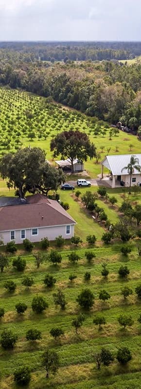 Aerial view of farming land with a house in the middle