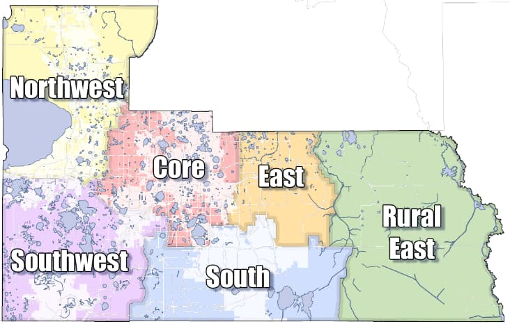Market areas representing north, south, east, far east, west and central Orange County
