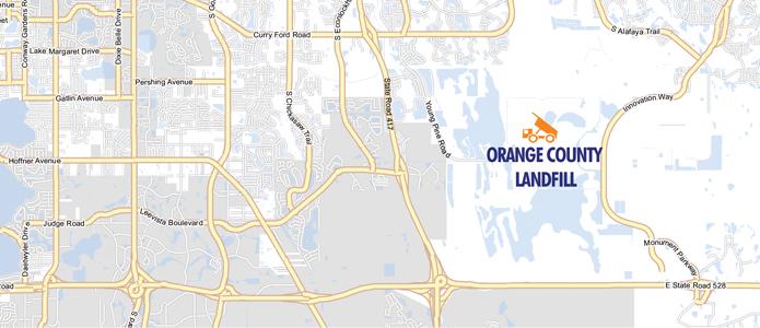 Mapa delVertedero del Condado de Orange